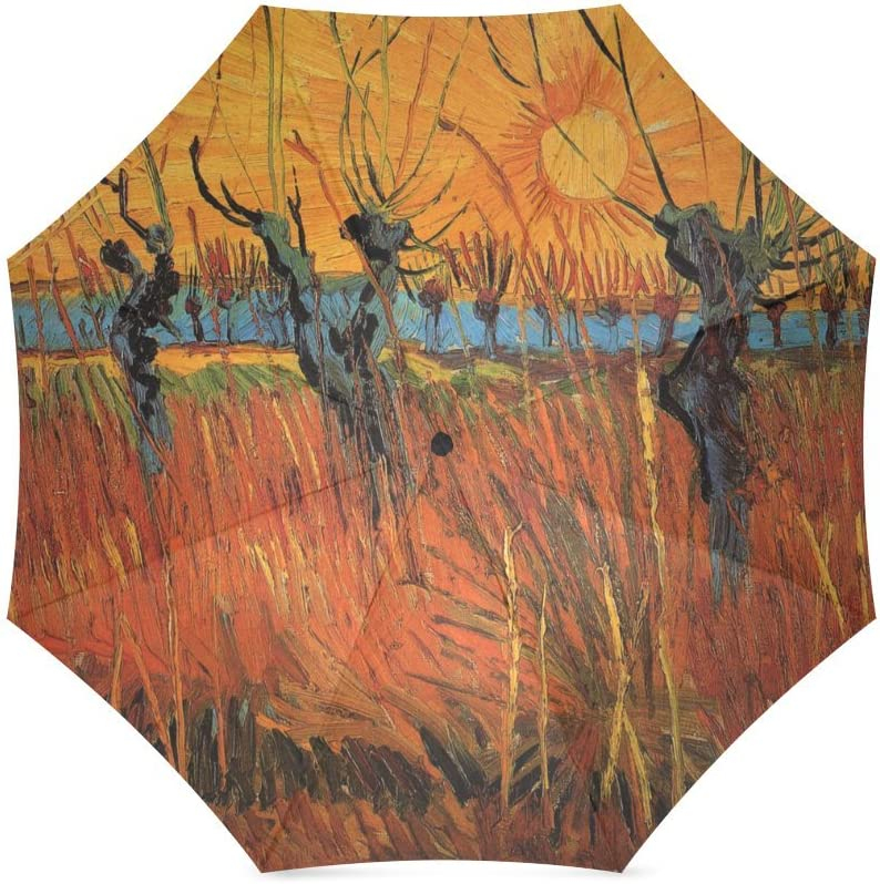 foldable Umbrella Custom Vincent Van Gogh Willows at Sunset Compact Travel Windproof Rainproof