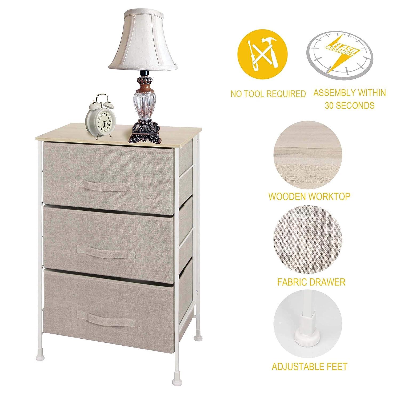 Itidy 3 Drawer Dressernightstandbedside Tableend Tablestorage Chest For Nurseryclosetbedroom And Bathroom No Tool Required Toemblepatent Design