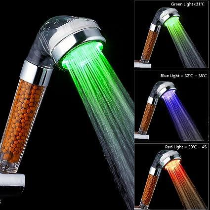LED Shower Head, VEYETTE 3 Color Light Up Shower Heads Negative Lonic  Filter LED