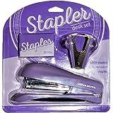 Office Depot Stapler Desk Set Half-Strip Stapler Pinch-Grip Staple Remover (1000 FREE Standard Staples) (Light Purple)