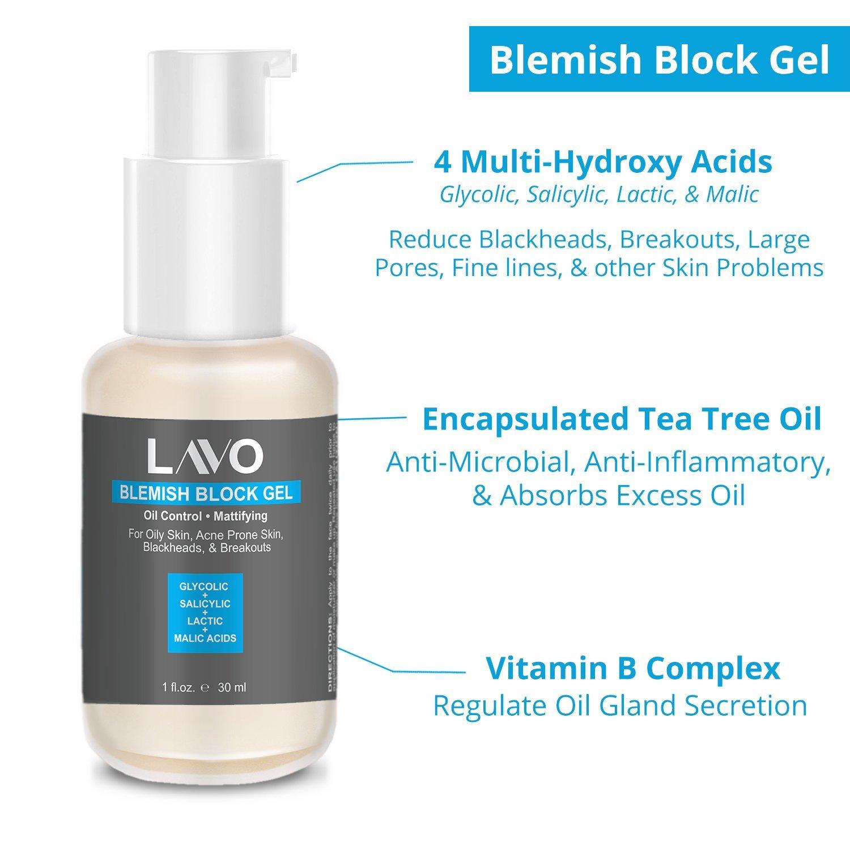 LAVO Blemish Block Gel w/Glycolic Acid, Salicylic Acid, Tea Tree Oil   Best  Acne Scar Spot Treatment  