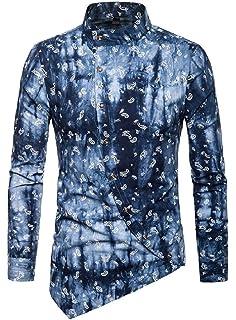 Jotebriyo Mens Prom Button Down Long Sleeve Nightclub Basic Party Dress Shirts