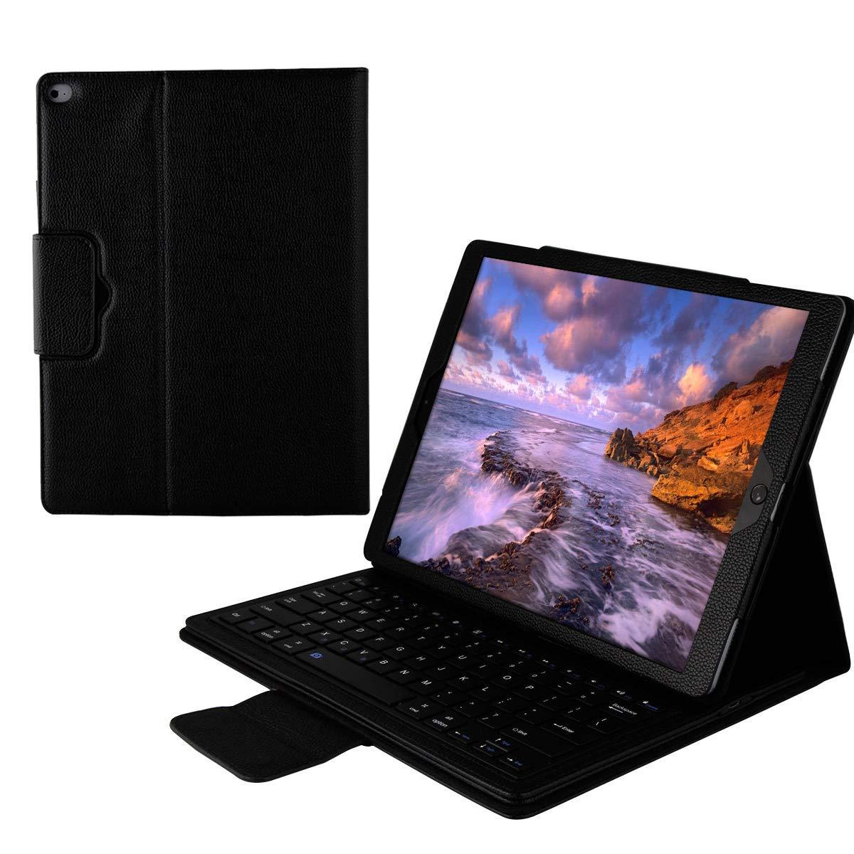 zukabmwus iPad Pro 12.9タブレットレザーケースセット ワイヤレスUSAキーボード付き 丈夫なバックカバー タブレットフリップケースカバー iPad Pro 12.9タブレットシェル キーボード付き (レッド), ブラック, 1504-Z8-698  ブラック B07MSM1SQP, DryBones Online Shop 8fbef3a5