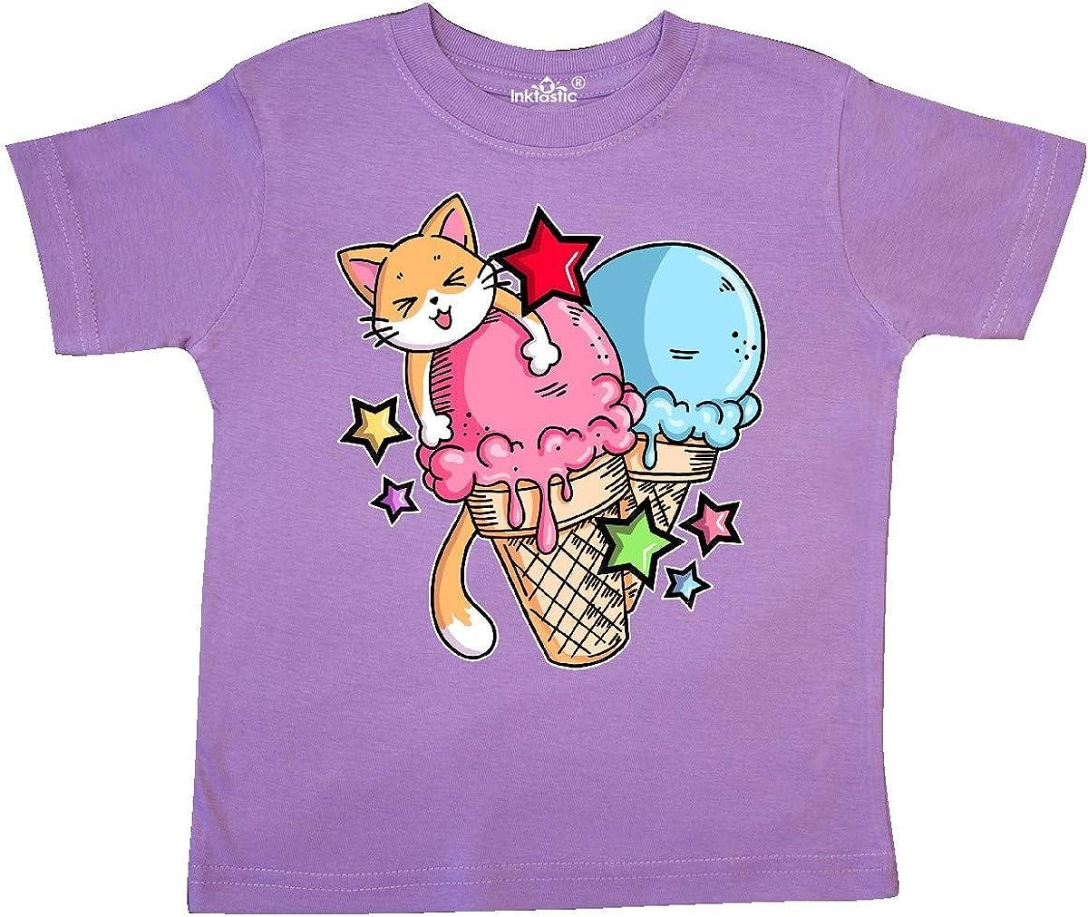 inktastic Ice Cream Cones with Orange Cat and Stars Toddler T-Shirt