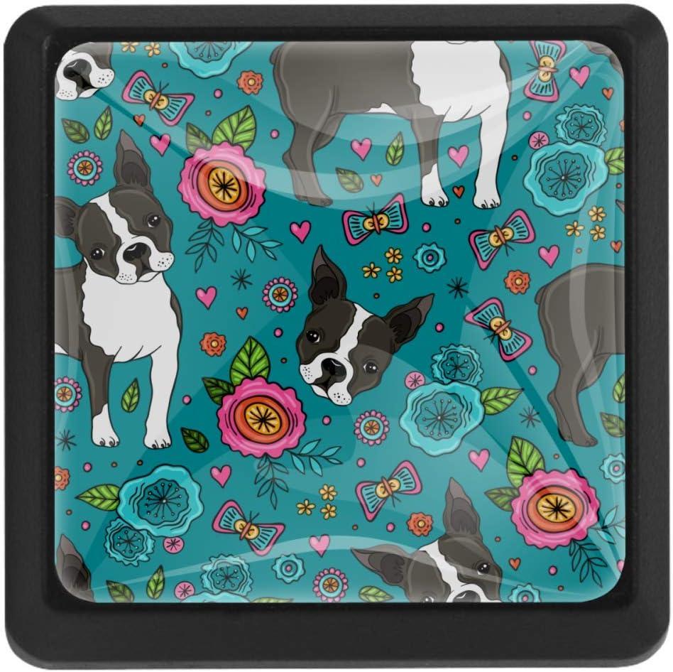 TIKISMILE Boston Terrier Crystal Glass Square Drawer Knobs and Pulls Knobs Handles for Kitchen Furniture Door Drawer Cabinet Dresser Closet Wardrobe Cupboard Bathroom,3 Pack
