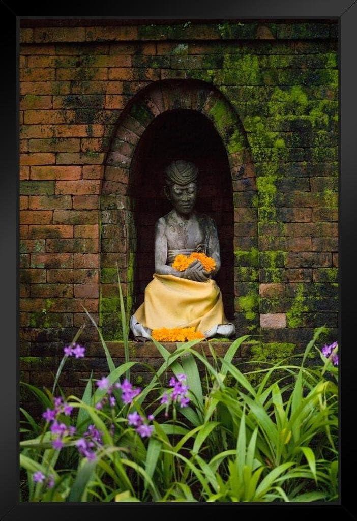 Statue in Temple Garden Courtyard Ubud Bali Indonesia Photo Art Print Black Wood Framed Poster 14x20 inch