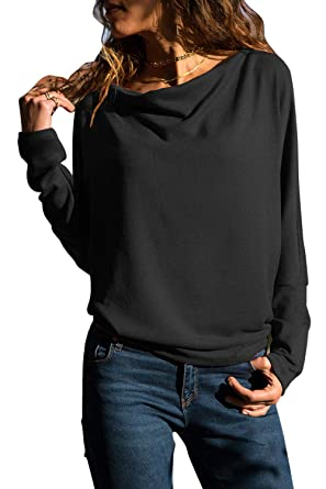 947cf4ec59eb10 Grace s Secret Womens Long Sleeve Tops Cowl Neck Casual Slim Tunic Tops for  Women Black S
