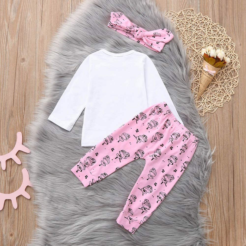 Baby Clothes Set Letter Long Sleeves T Shirt Tops Pants Headband Outfits Set Outfit Clothing