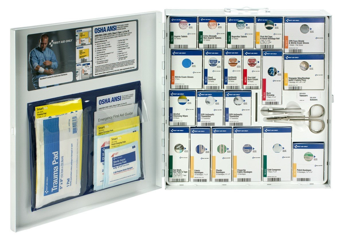 First Aid Only 50 Person Large Metal SmartCompliance First Aid Cabinet with Medication