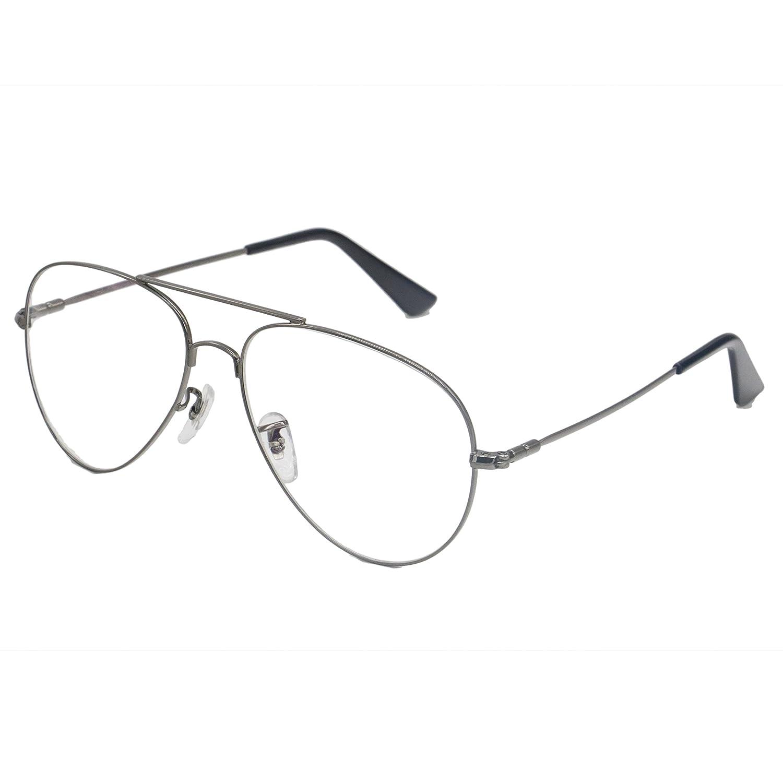 Simvey Classic Retro Oversized Aviator Glasses Clear Lens Memory Alloy Frame UV400 3026