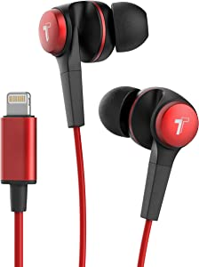 Thore iPhone Earphones with Lightning Connector (Bass Booster V120 Earbuds) in Ear Wired Headphones with Mic/Volume Control for iPhone XR/Xs Max/11/Pro Max/X/7/8 Plus/SE - Red
