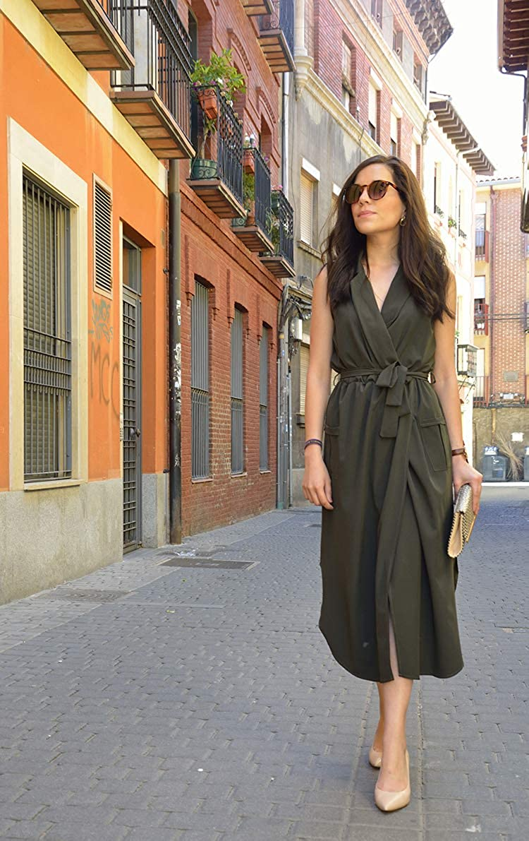 Designer97 Womens Casual Sleeveless Self-tie Sash Tall Waist Shirt Long Dress with Pockets