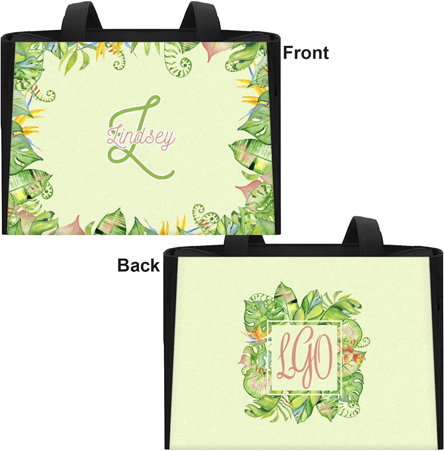 Front /& Back Tropical Leaves Border Ladies Workout Bag Personalized