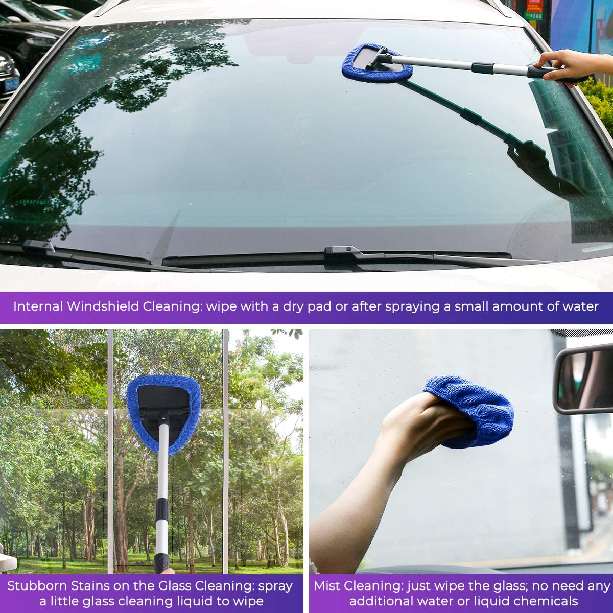 4 Microfiber Pads AstroAI Car Window Cleaner Windshield Cleaning Tool with Detachable Handle Auto Inside Glass Wiper Kit Blue