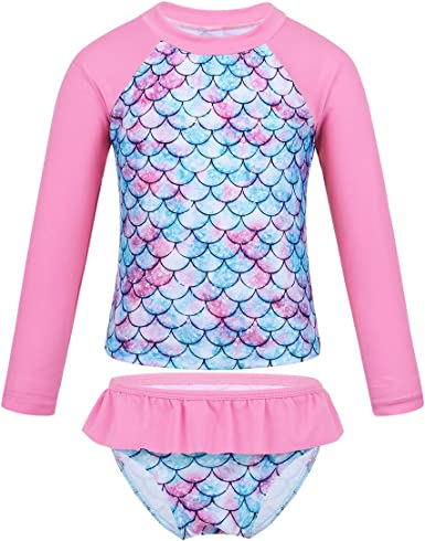 JerrisApparel Girl Long Sleeves Rash Guard Bottom Two Pieces Swimsuit Bathing Set