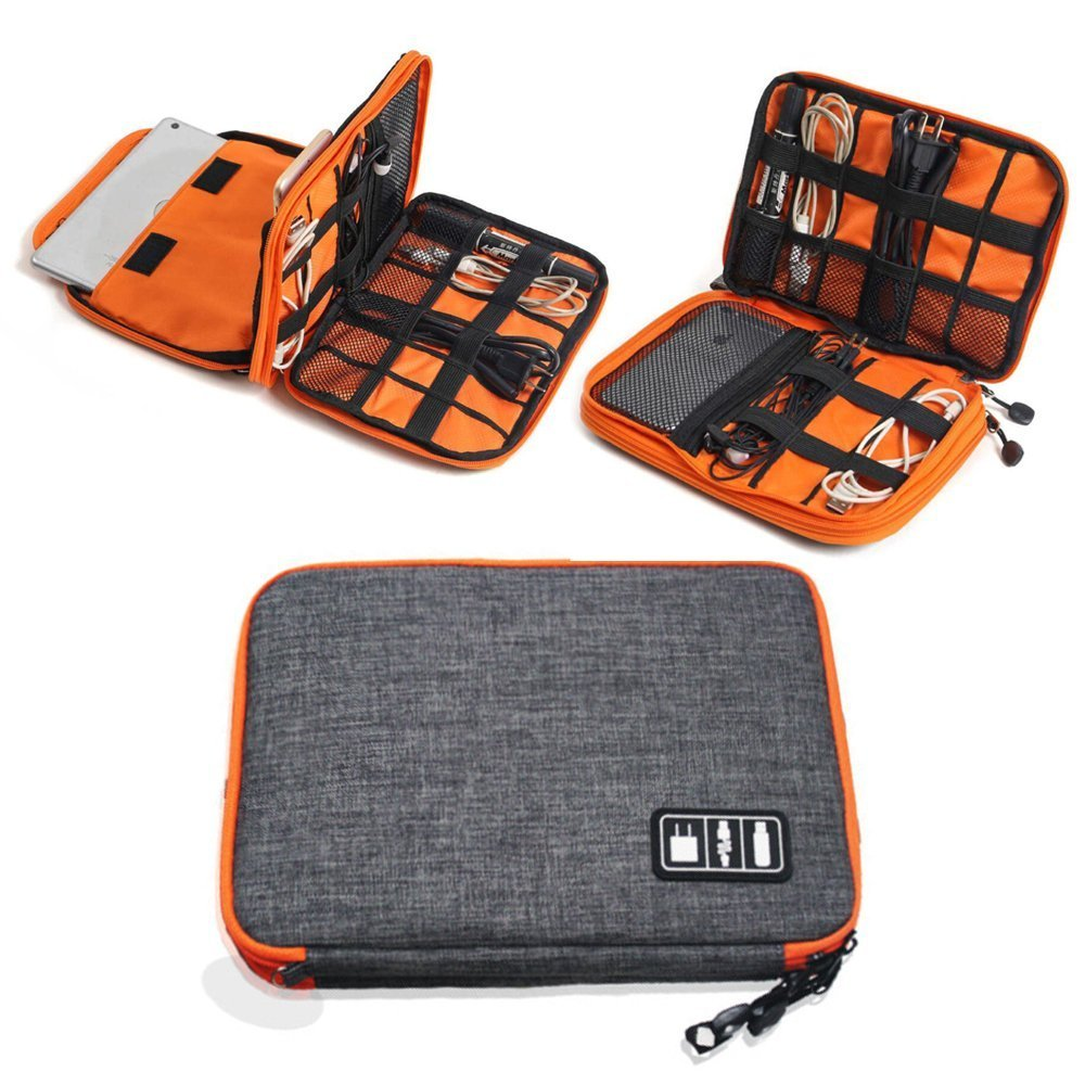 METORY Electronics Accessories Case, Waterproof Universal Cable Management Organizer Travel Bag for Various USB, Phone, Charger and Cable(Double Layer, Medium, Grey and Orange)