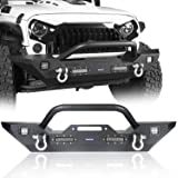Hooke Road Front Bumper with Winch Plate & 4X LED Lights & D-rings Compatible with Jeep Wrangler JK & Unlimited 2007-2018