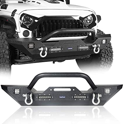 u-Box Jeep Wrangler JK Different Trail Front Bumper w/Winch Plate & 4X LED  Accent Lights for 2007-2018 Jeep JK Wrangler & JK Wrangler Unlimited