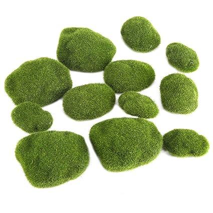 12pcs Moss Ball Terrarium Decorative Artificial Green Moss Stones