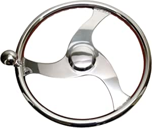 """Pactrade Marine Boat Stainless Steel Steering Wheel with Power Knob Comfort Grip, 15.5"""" D"""