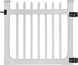 """WamBam Nantucket Vinyl Picket Gate with Stainless Steel Hardware, 48"""" High by 48"""" Wide"""