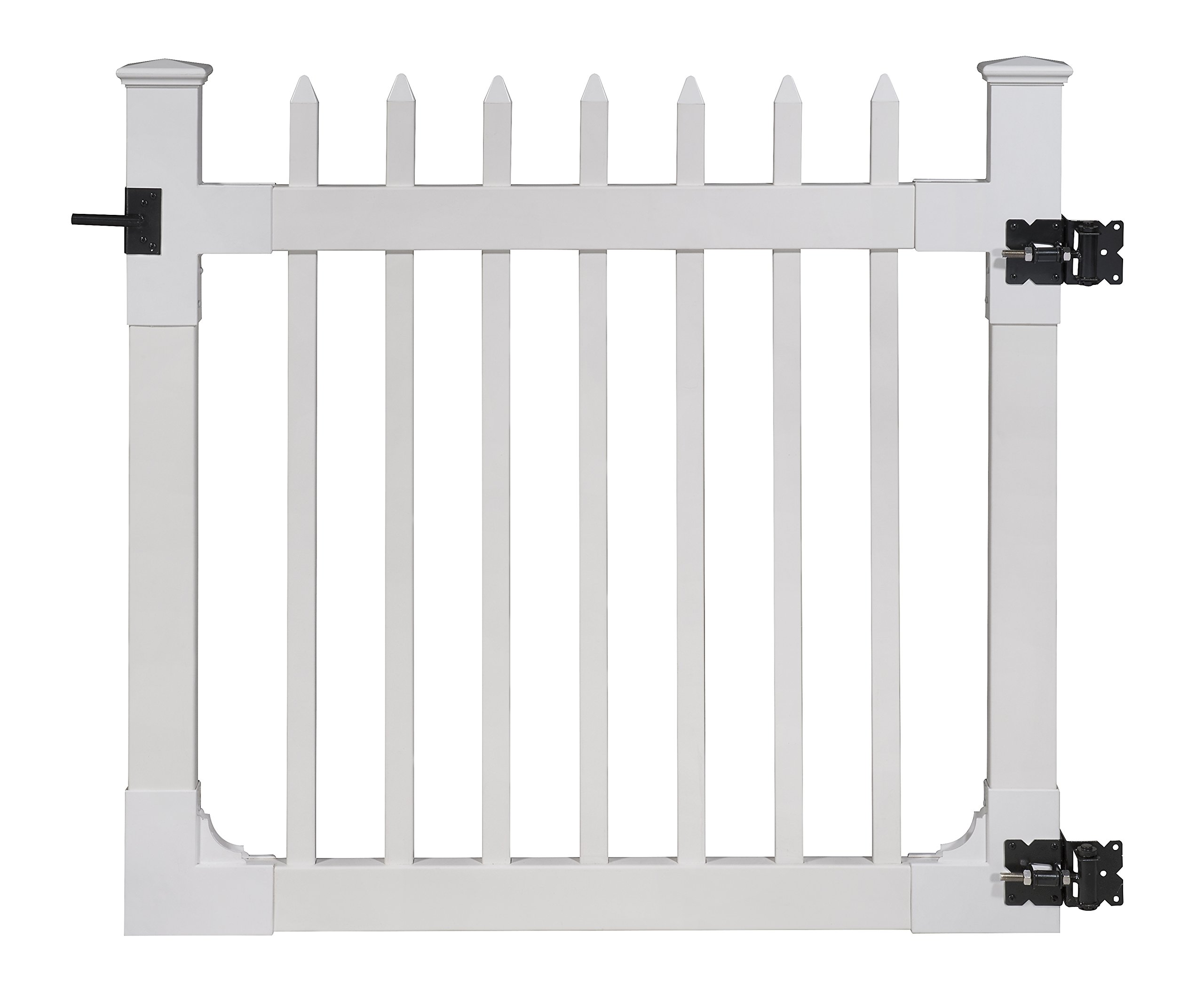 WamBam Nantucket Vinyl Picket Gate with Stainless Steel Hardware, 48'' High by 48'' Wide