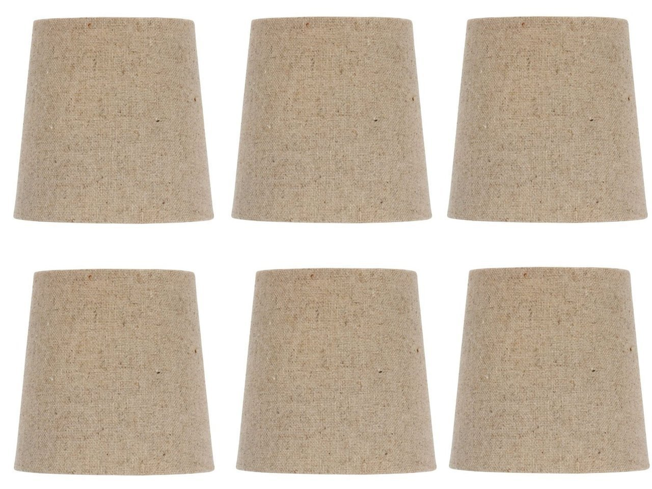 Upgradelights Burlap Chandelier Lamp Shade Set Of Six Shades 5 Inch Retro Drum Clips Onto Bulb 4x5x4 Lampshades Com