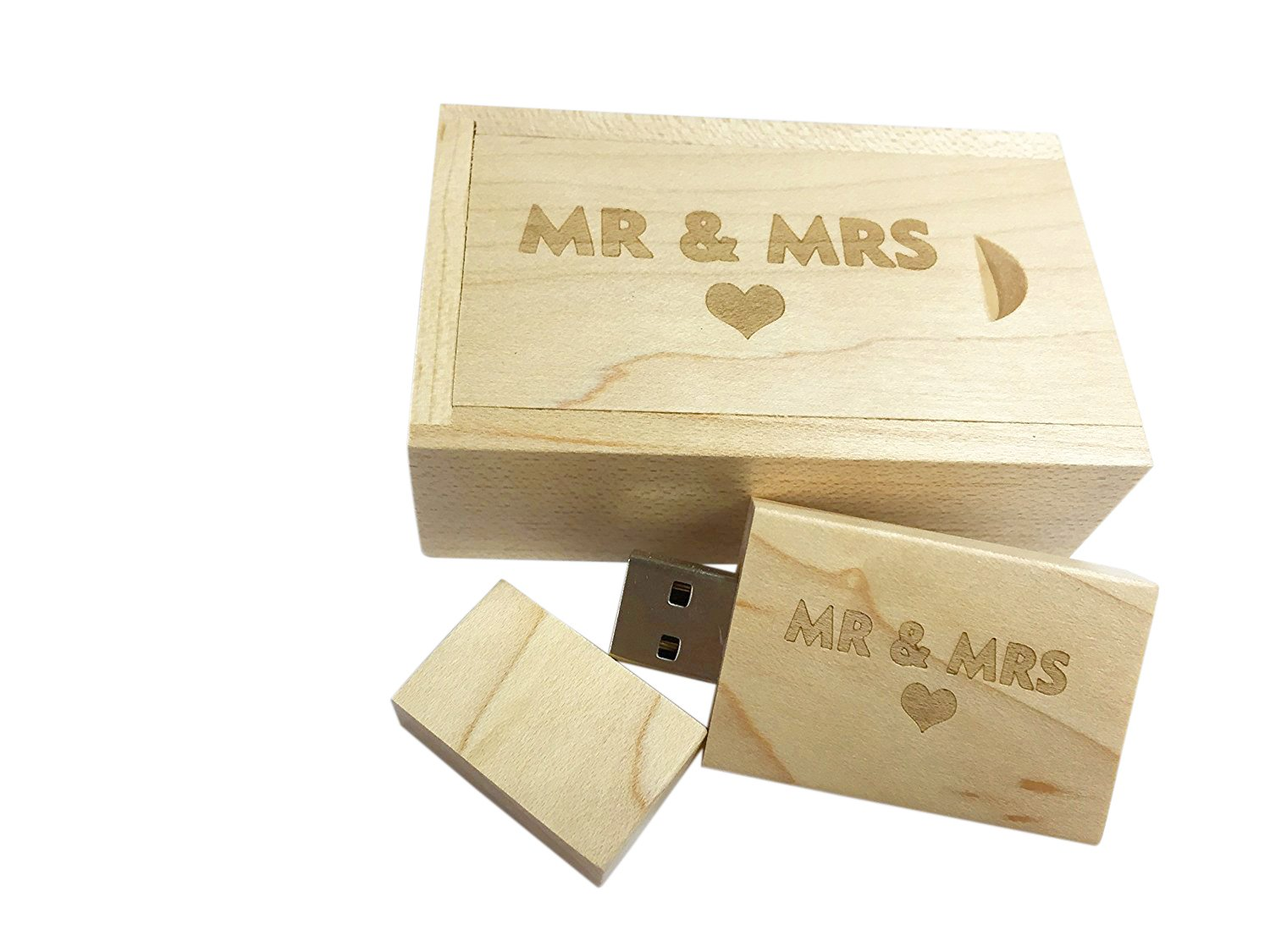 Dodjivi Maple Wood USB Flash Drive with Laser Engraved 'Mr & Mrs' Design – 16GB Wood USB 2.0 Flash Drive Memory Stick Pen Drive with Cute Sliding Door Wood Box – Perfect Wedding Gift for Bride, Groom 4328521082