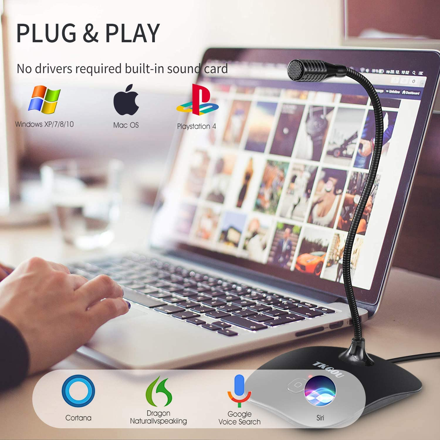 TKGOU USB Microphone for Computer - Plug&Play Recording Microphone with Mute Button - Compatible with PC, Laptop, Mac, ps4 - Ideal for YouTube,Skype,Gaming,Podcast(1.5m /5ft)