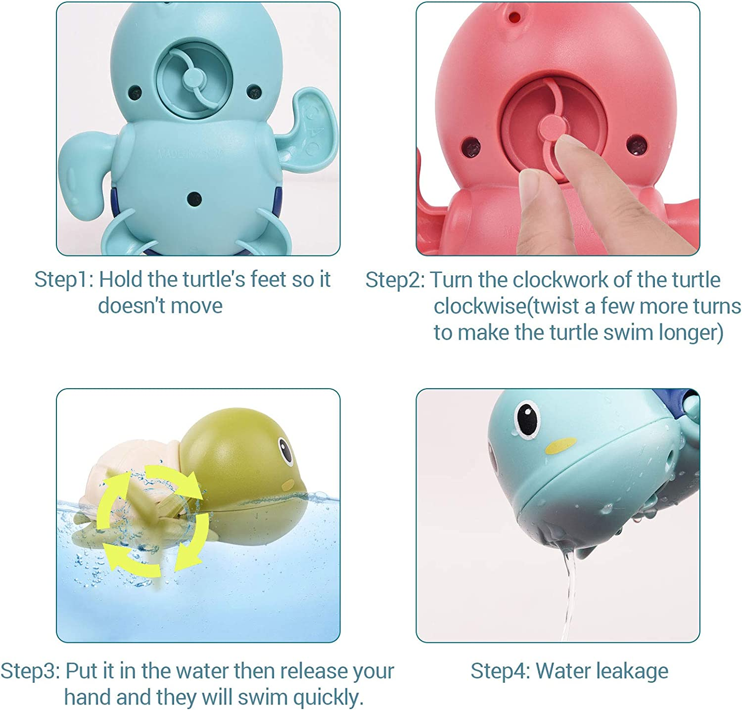 afontoto Baby Bath Toys Wind-up Turtle Toys Pool Swim Bath Toys Multi-Colors Swimming Bathtube Toy Pool Playset for Toddlers Kids Birthday for Boys and Girls Green, Blue, Pink