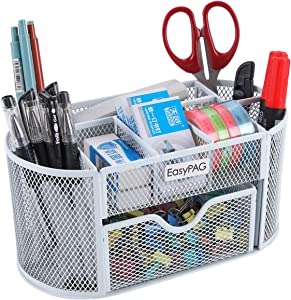 EasyPAG School/Office Desk Accessories Organizer 9 Components Desktop Supplies Caddy with Drawer,White