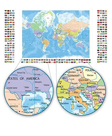 Amazon alonline art political modern world map flags world alonline art political modern world map flags world map vinyl sticker decal 42quotx24quot gumiabroncs Images