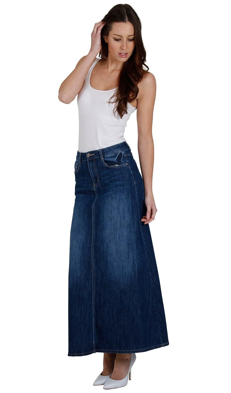 Long Stonewash Denim Skirt SKIRT68 Womens Maxi Skirt Full Length Denim Skirt Cindy H
