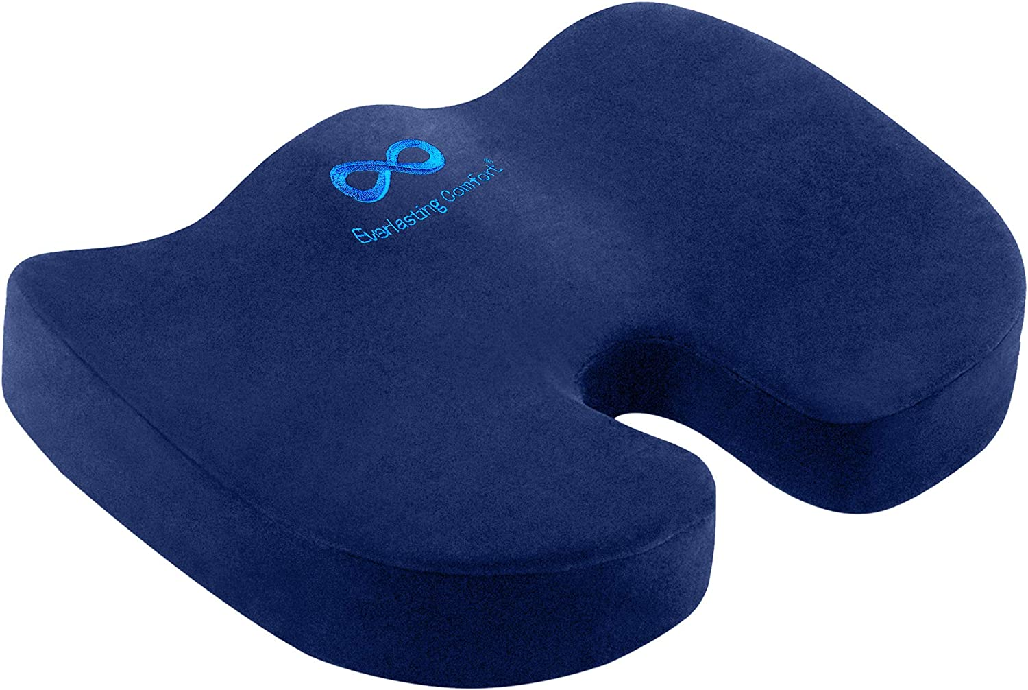 Everlasting Comfort Seat Cushion for Office Chair - Tailbone Pain Relief Cushion - Coccyx Cushion - Sciatica Pillow for Sitting (Navy Blue)
