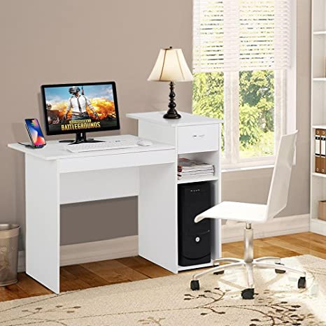 Topeakmart Small White Computer Desk With Drawers And Printer Shelves Wood Study Writing Table Compact Pc Laptop Workstation For Small Space Home