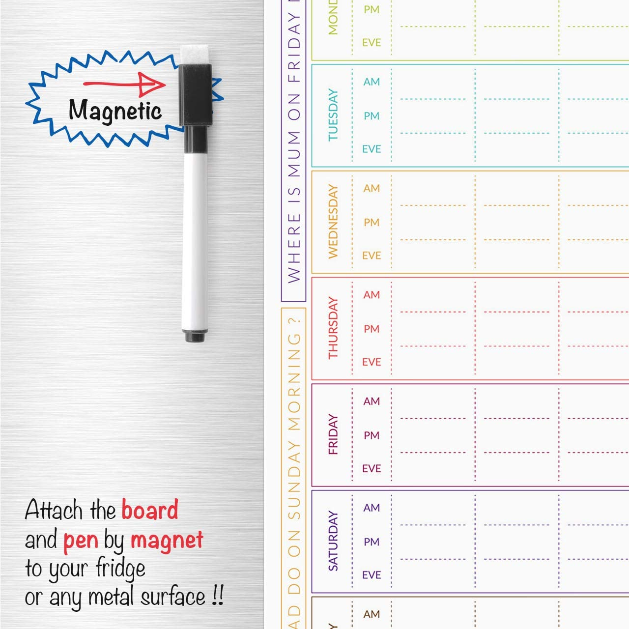 Planificador familiar magnético para heladera con espacio ...