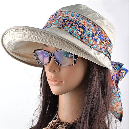 Women Wide Brim Visor Hats with Removable Neck Flap UV Protection ... 7fd10e176dc