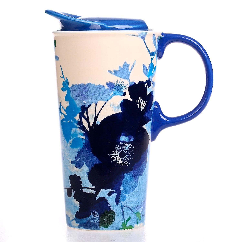 CEDAR HOME Travel Coffee Ceramic Mug Porcelain Latte Tea Cup With Lid in Gift Box 17oz. Impression Flower