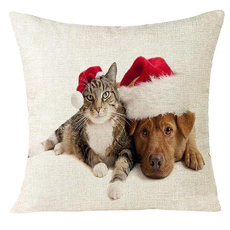 Funda de almohada, neartime Navidad gato sofá hogar Navidad decoración Festival funda de cojín