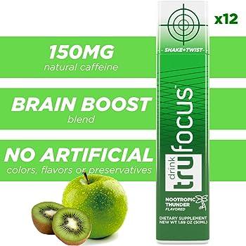 12 Shots Tru Focus Natural Extra Strength Energy Shots, Brain Blend
