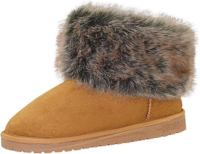 King Ma Womens Faux Fur Tassel Winter Snow Boot Suede Flat Ankle Boots