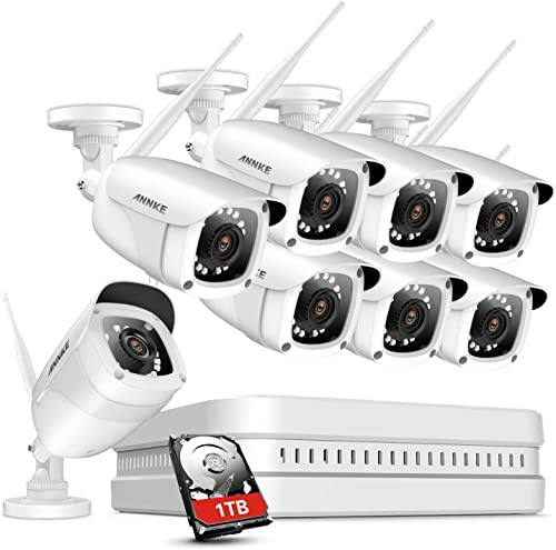 ANNKE 8CH 1080P Wireless Security Cameras System with 1TB Hard Drive, H.264 Video Compression, 8x1080P Indoor Outdoor Bullet IP Cameras, 100ft Night Vision with Smart IR, Remote Access