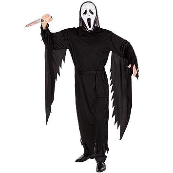 dressforfun Disfraz de la película Scream para hombre | Máscara de miedo | Vestimenta larga |