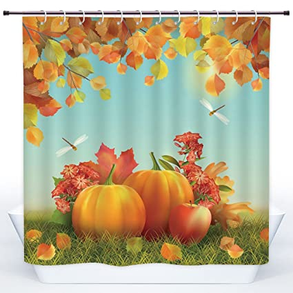 SCOCICI Polyester Shower CurtainHarvestFall Season Yield Thanksgiving Image Fallen Leaves Branches Pumpkins
