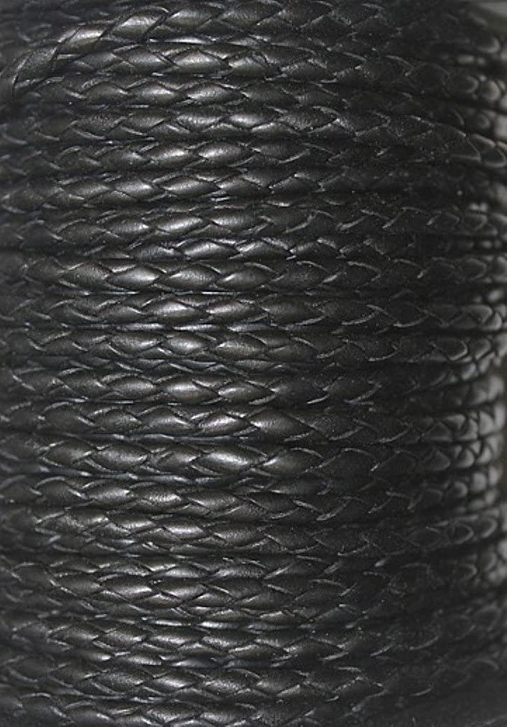 10 Yards Packing 3mm Leather Laces Available in 1 Yard Bolo 25 Yards, Black 602 Round Braided 5 Yard
