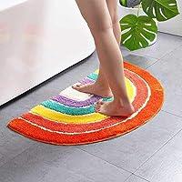 Multicolour Half Round Bathroom Mat Rainbow Microfiber Non-Slip Absorbent Bath Shower Rugs for Living Room Bedroom…
