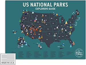 "USA National Park Scratch Off Map (24"" x 17"") - Interactive Educational Travel Scratch-Off Poster Reveals Images of All 61 US National Parks - Great Gift for Men and Adventurers"