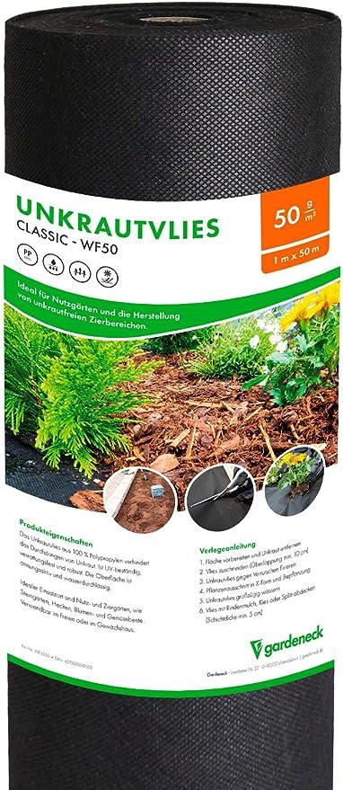 Gardeneck - Fieltro para Malas Hierbas (50 g/m2, Permeable al Agua, Resistente a los Rayos UV, Resistente a roturas y Transpirable, 1 m x 50 m=50 m2): Amazon.es: Jardín