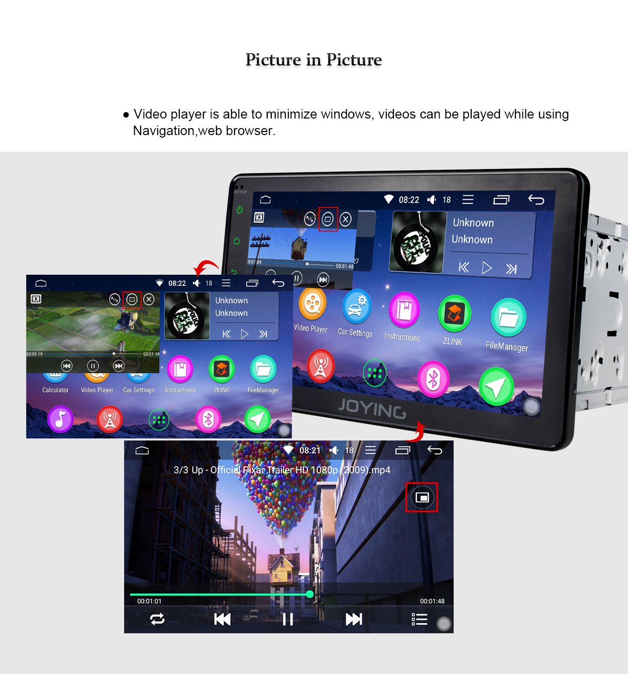 JOYING Car Stereo 8 inch PX5 Octa-Core 2GB RAM 32GB ROM Double Din  Universal Car radio with Bluetooth Music & Sleep Mode Function - Support  iPhone