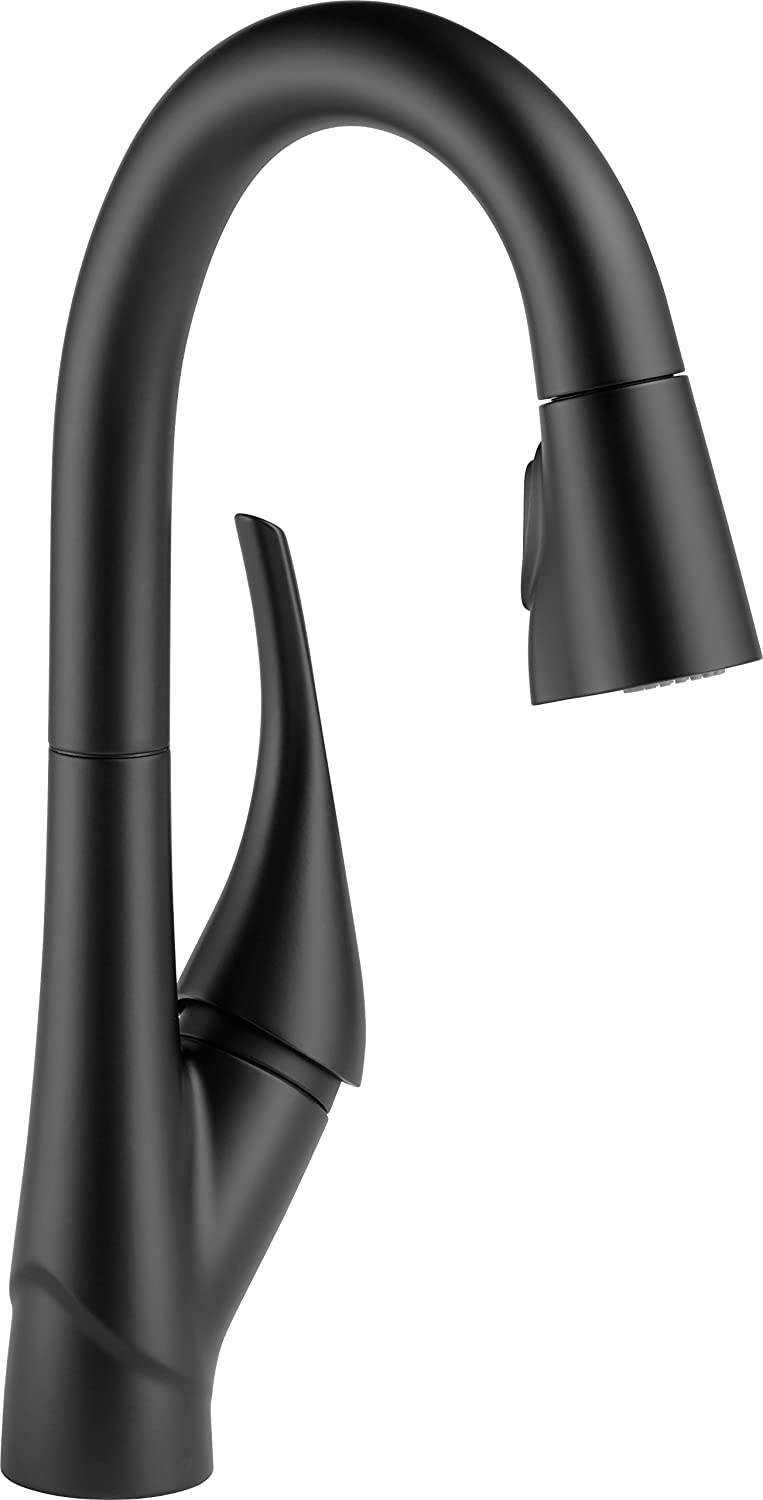 Delta Faucet Esque Single-Handle Bar-Prep Kitchen Sink Faucet with Pull Down Sprayer and Magnetic Docking Spray Head, Matte Black 9981-BL-DST